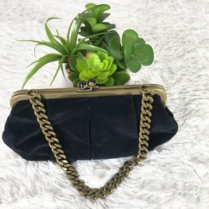 J-crew black suede clutch with thick brass chain